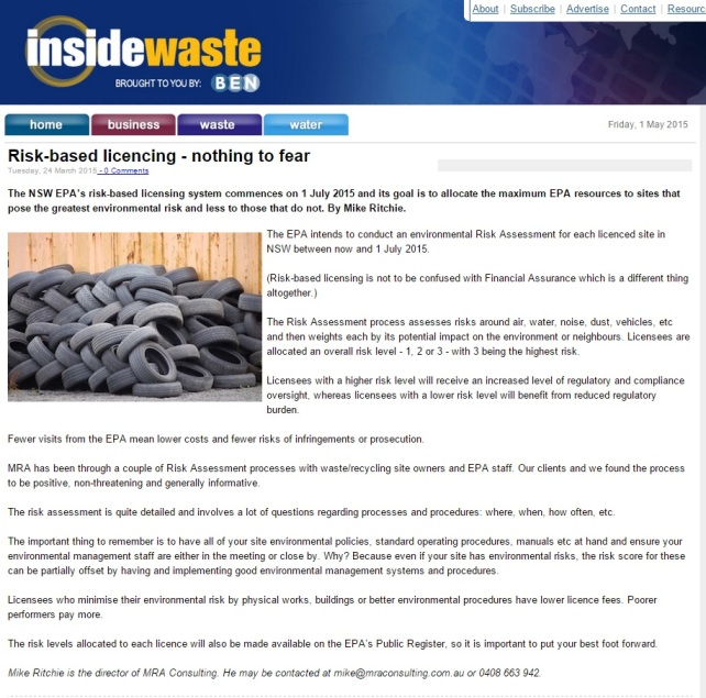 Risk based licencing - nothing to fear - inside waste