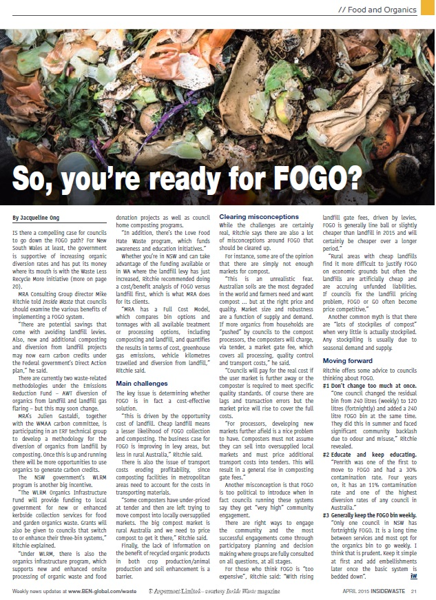 so your ready for FOGO - Inside Waste