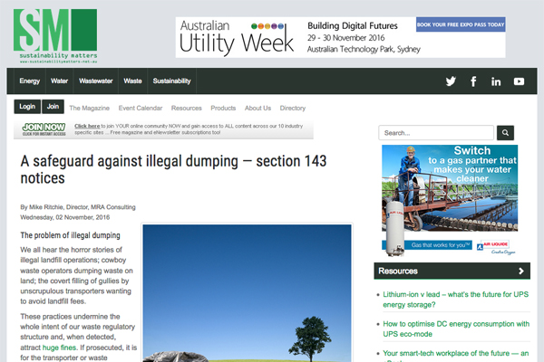 A safeguard against illegal dumping – section 143 notices
